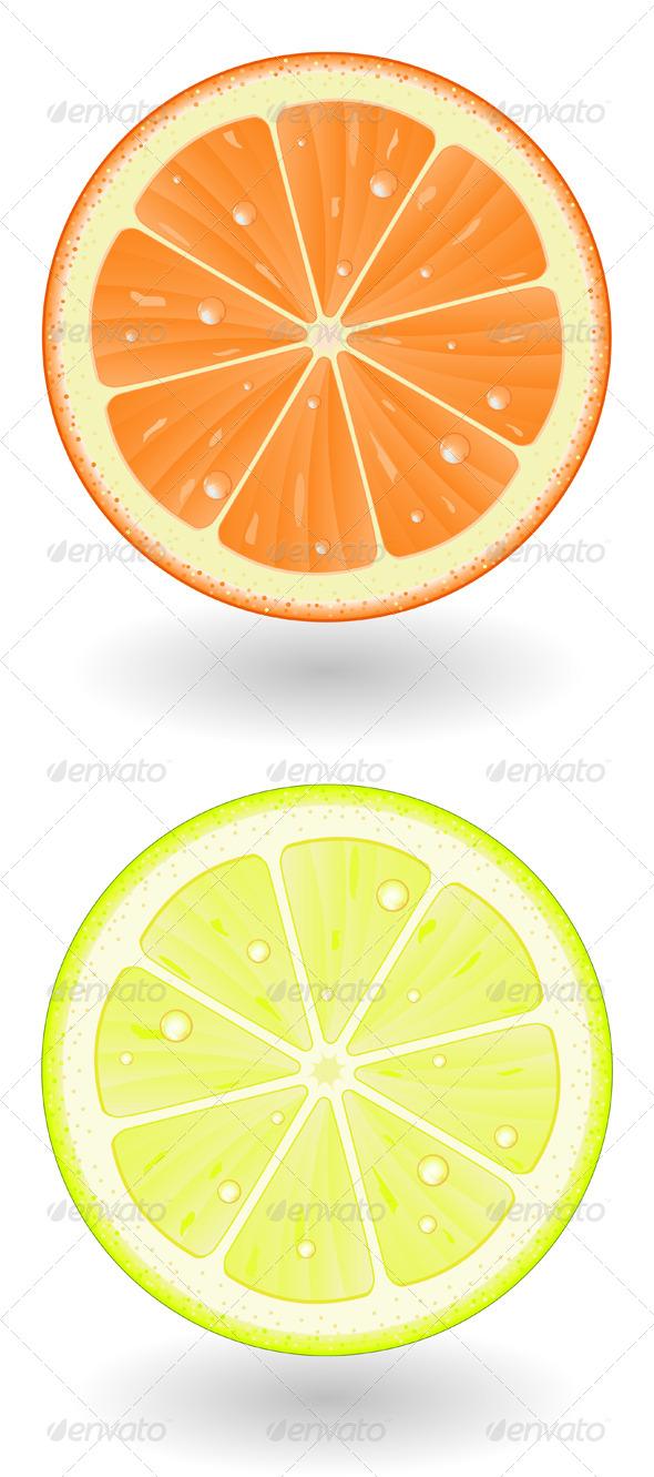 Orange & Lemon Cut - Food Objects