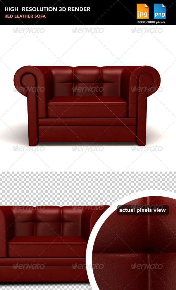 Red Leather Sofa - Objects 3D Renders