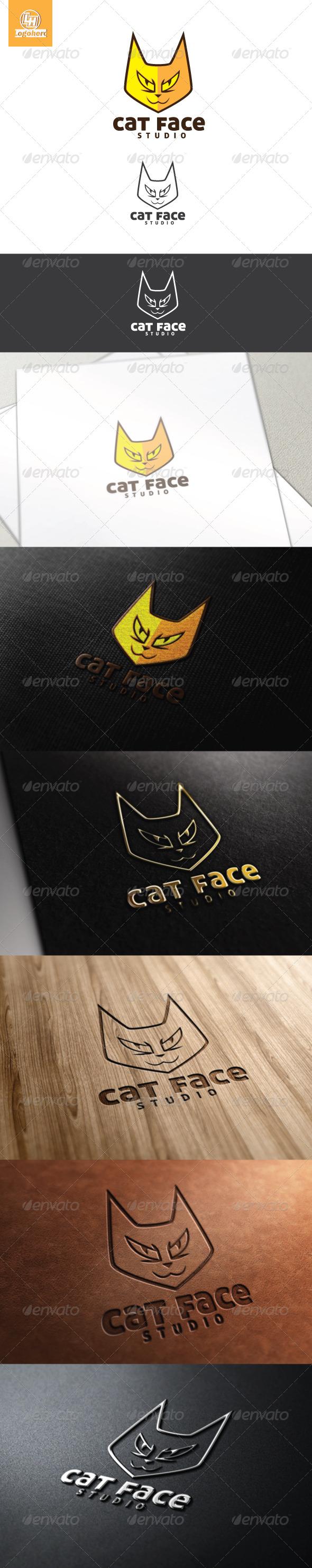 Cat Face Logo Template - Animals Logo Templates