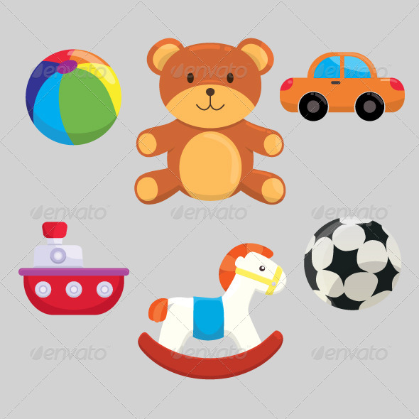 Cute Children Toys Set - Man-made Objects Objects
