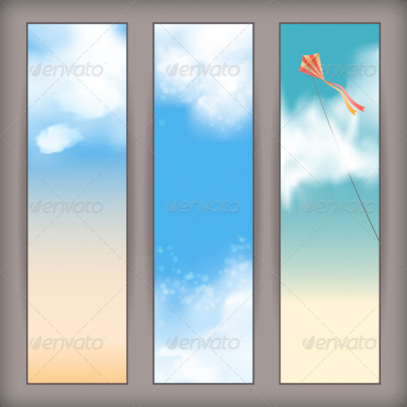 Sky Banners with White Clouds and Flying Kite - Seasons Nature