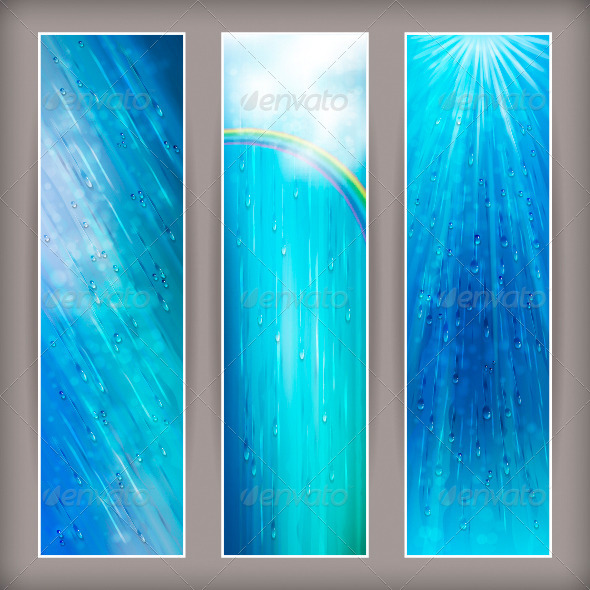 Blue Rain Banners Abstract Water Background Design - Seasons Nature