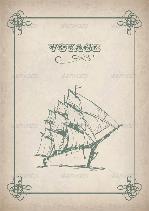 Vintage Sailboat Retro Border Drawing on Old Paper - Travel Conceptual