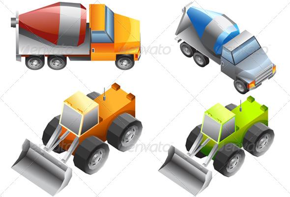 Isometric of Excavator and Bulldozer  - Travel Conceptual