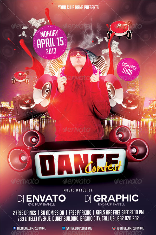Dance Contest Flyer Template By Mikkool Graphicriver