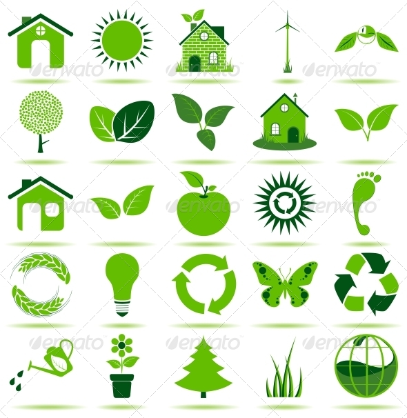 Green Eco Icons - Web Elements Vectors
