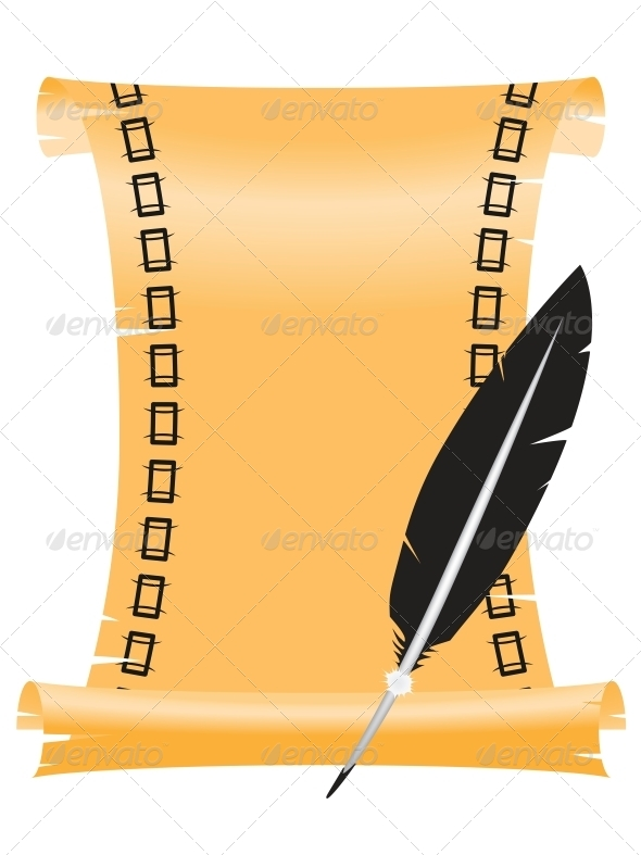 Ancient Scroll with a Feather - Miscellaneous Vectors