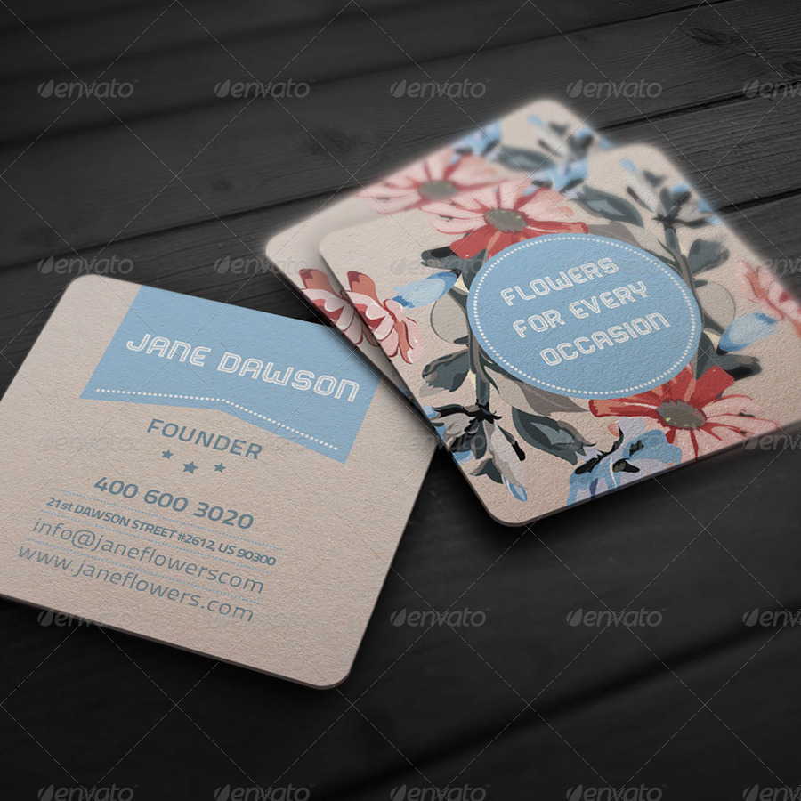 Flower Shop Business Card by bellacharming | GraphicRiver