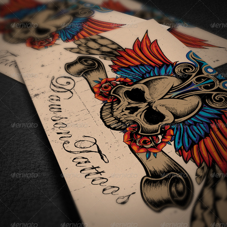 Tattoo artist business card by bellacharming graphicriver for Tattoo business card templates