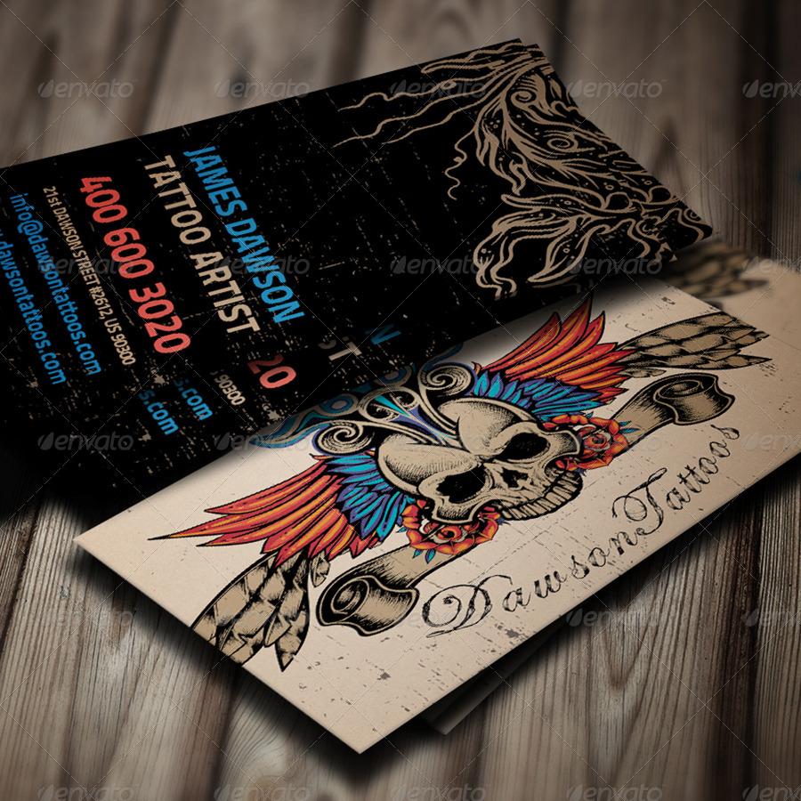 Tattoo Artist Business Card by elenadodevska | GraphicRiver
