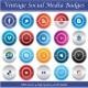 Vintage Social Media Badges - GraphicRiver Item for Sale