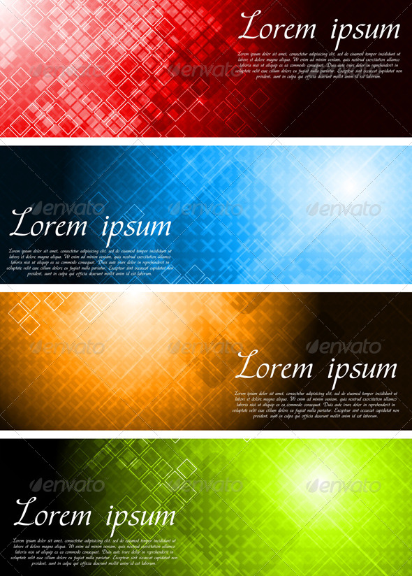 Set of Bright Technology Banners - Backgrounds Decorative