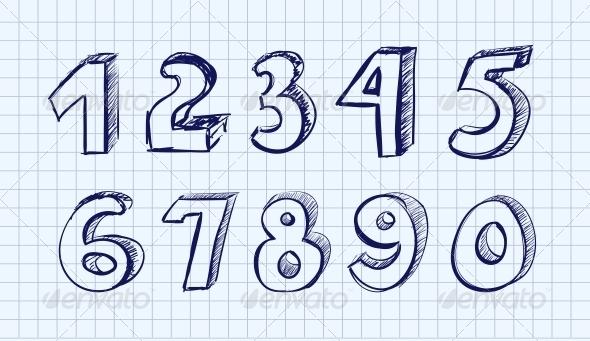 Hand drawn Vector Numbers - Decorative Symbols Decorative