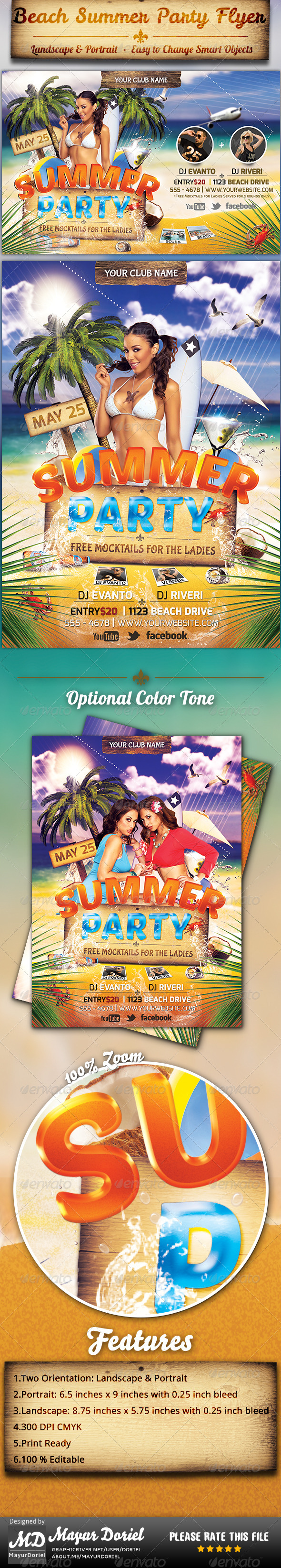 Beach Summer Party Flyer Template - Clubs & Parties Events