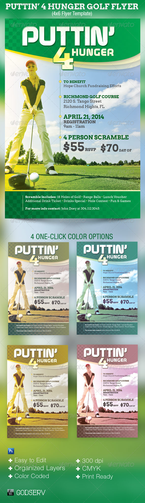 Puttin Charity Golf Flyer Template - Sports Events
