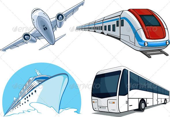 Travel Transportation Set - Travel Conceptual