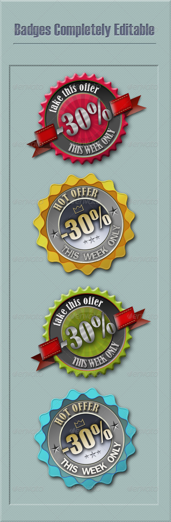 Discounts Badges Editable - Badges & Stickers Web Elements