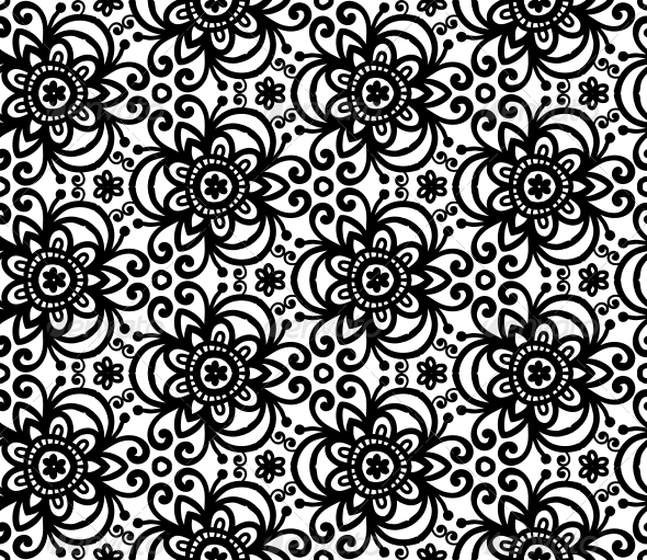Black Abstract Flowers Seamless Pattern - Decorative Symbols Decorative