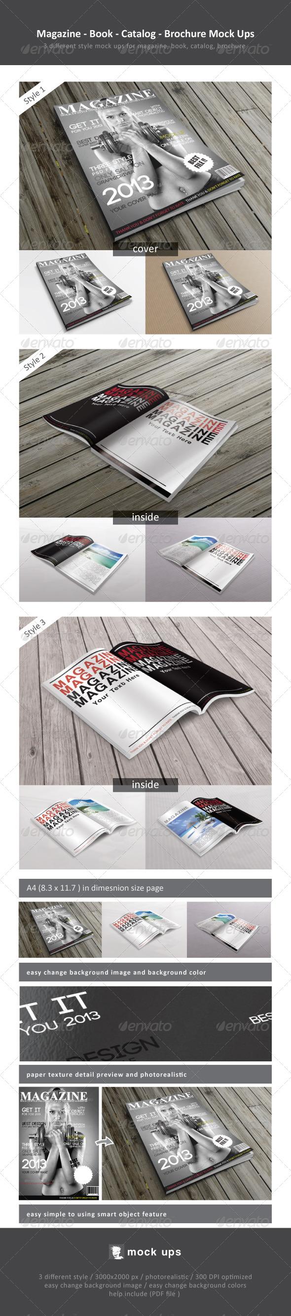Magazine / Book / Catalog / Brochure Mock Ups - Magazines Print