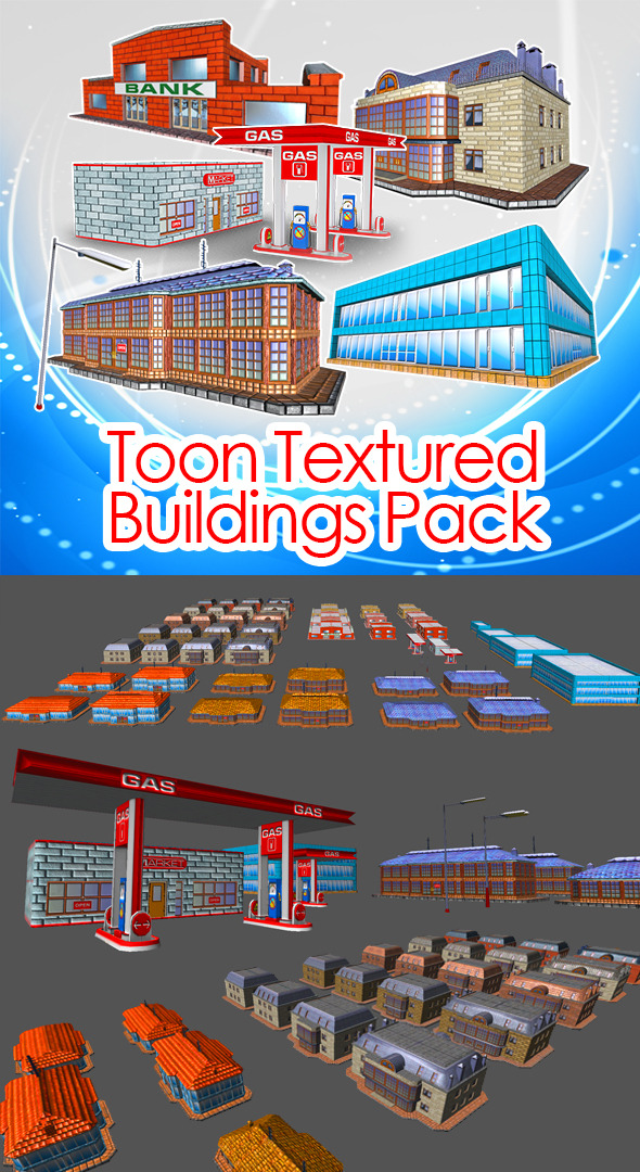 Toon Textured Buildings Pack - 3DOcean Item for Sale