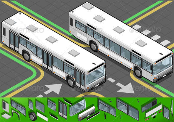 Isometric Bus in Front View - Objects Vectors