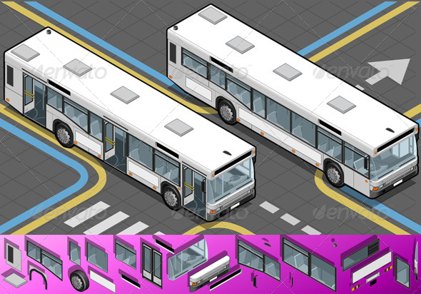 Isometric Bus with Opened Doors - Objects Vectors
