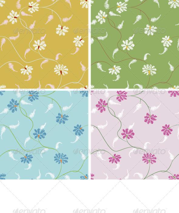 Stylized Flower Seamless Pattern Set - Patterns Decorative