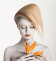 Bodyart. Fancy Daydreaming Woman with Exotic Flower. Allure - PhotoDune Item for Sale