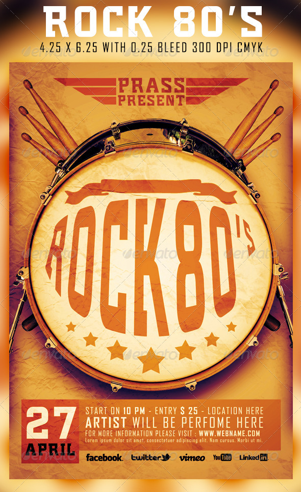 Rock 80 Flyer Template - Events Flyers