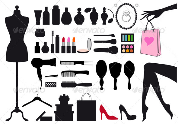 Fashion and Beauty, Vector Set - Retail Commercial / Shopping
