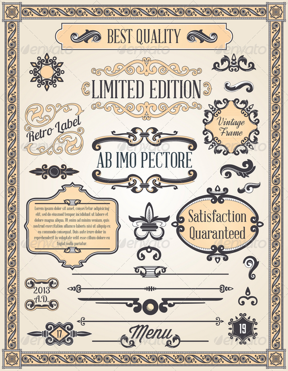 Calligraphic Design Elements and Page Decoration - Decorative Vectors