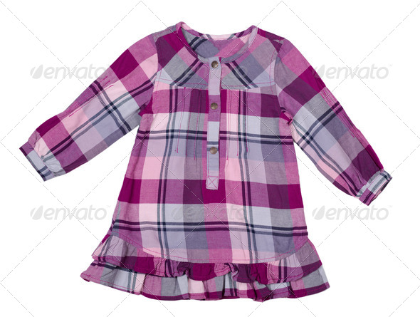 baby checkered dress - Stock Photo - Images