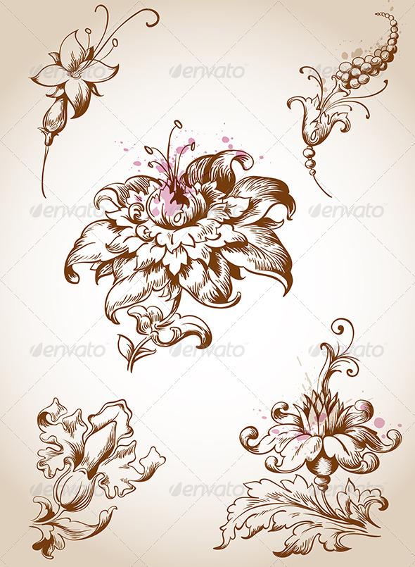 Victorian Foral Design Elements - Flourishes / Swirls Decorative