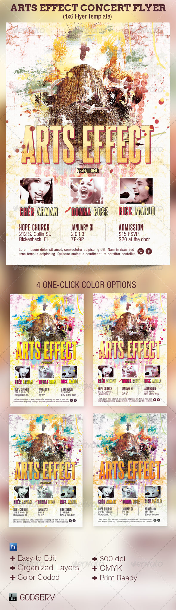 Arts Effect Flyer Template - Concerts Events