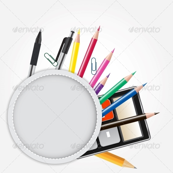 School Theme Background with Different Tools - Backgrounds Business