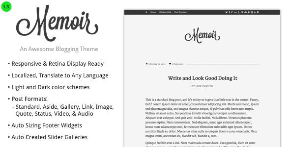 memoir tumblog style wordpress theme by designcrumbs themeforest. Black Bedroom Furniture Sets. Home Design Ideas
