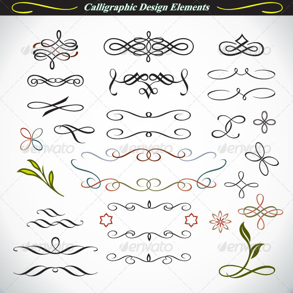 Calligraphic Design Elements 3 - Decorative Symbols Decorative