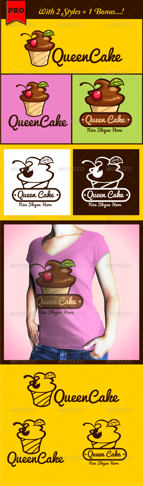 QueenCake Cupcake Logo  - Food Logo Templates