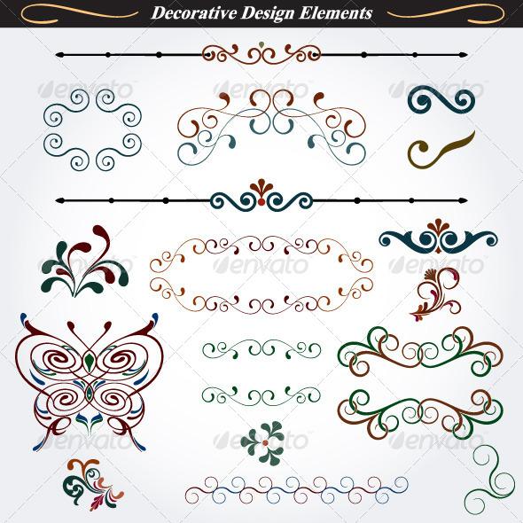 Collection of Decorative Design Elements 3 - Flourishes / Swirls Decorative