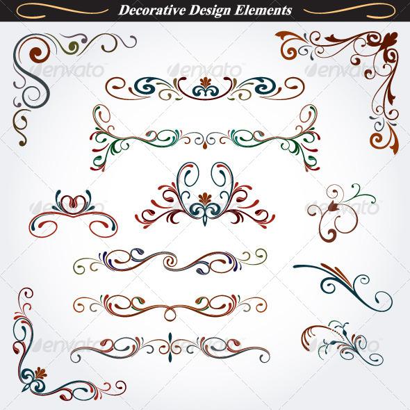 Collection of Decorative Design Elements 4 - Flourishes / Swirls Decorative