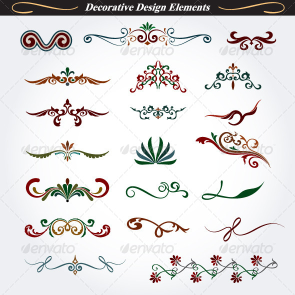 Collection of Decorative Design Elements 5 - Flourishes / Swirls Decorative