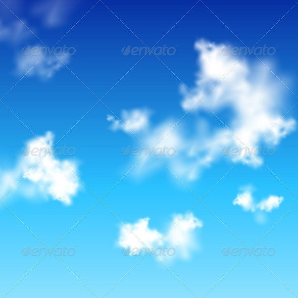 Vector Clear Blue Sky with White Clouds - Landscapes Nature