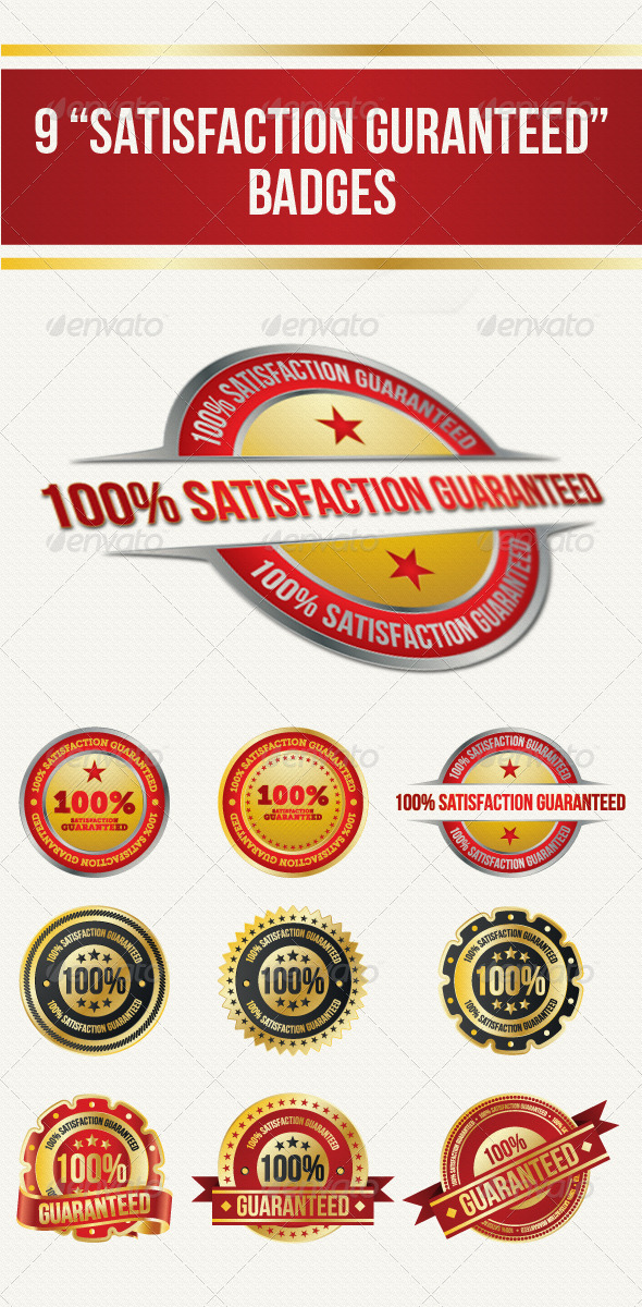 Guaranteed Satisfaction Badges - Web Elements Vectors