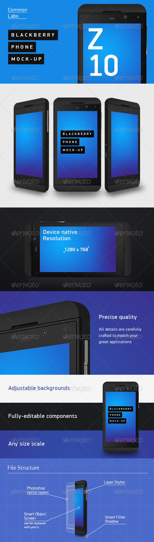 Blackberry Z10 Phone Mock-Up - Mobile Displays