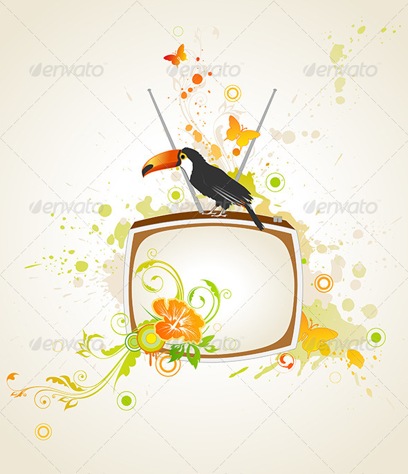 Old TV and Toucan - Backgrounds Decorative