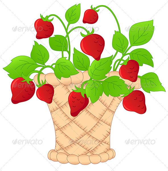 Basket of Strawberries - Food Objects