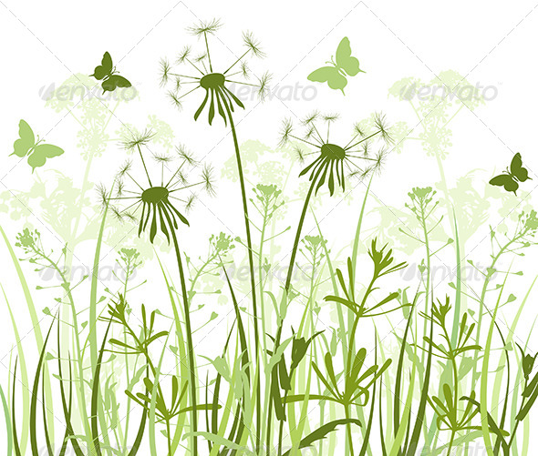 Floral Background with  Grass and Dandelions  - Flowers & Plants Nature