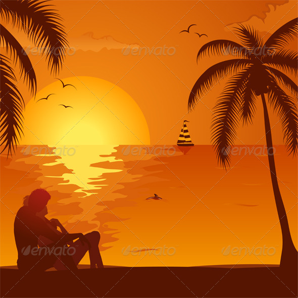 Summer Sunset with Couple - Travel Conceptual