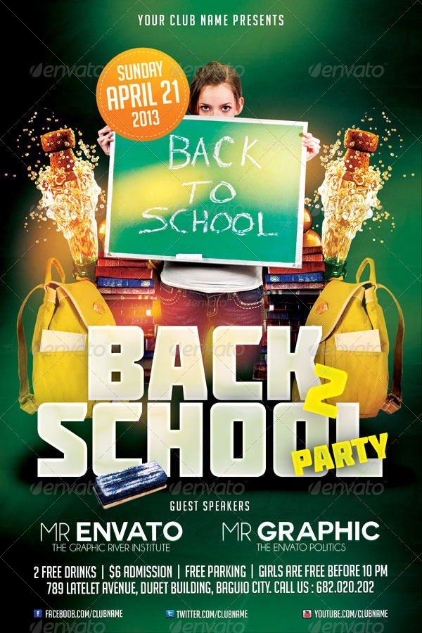 Back To School Party Flyer Template By Mikkool | Graphicriver