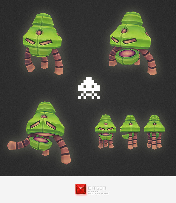 Low Poly Space Invader Alien 01 - 3DOcean Item for Sale